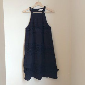 NWT LOFT Black Tassel Embroidered Boho Shift Dress